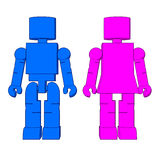 Block Figure Man & Woman Stock Photo