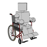Block Figure in Wheelchair Royalty Free Stock Image