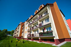 Block of flats. Generic image of colorful block of flats on sunny day stock photography