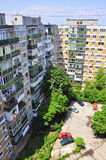 Block of flats. And parking place specific to former communist countries from eastern europe Royalty Free Stock Photos