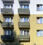 A block of flats. A detail of a block of flats Stock Photos