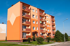 Block of flats. Colourful block of flats on sunny day Royalty Free Stock Photography