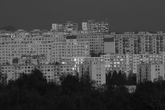 Block of flats. The black and white block of flats in the czech republic Royalty Free Stock Photo