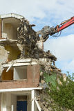 A block of flats. The demolition of a block of flats stock photos