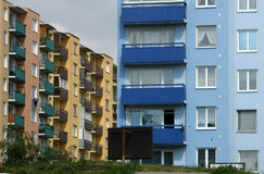 Block of flats. Blocks of flats in different colours royalty free stock image