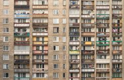 Block of flats. Typical socialist block of flats in Warsaw, Poland Royalty Free Stock Photography