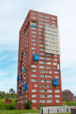 Block of flats. On the blue sky royalty free stock image