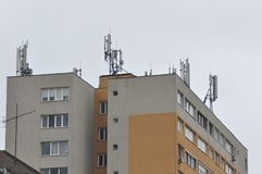 Block of flats with antenna. Block of flats - apartment building - detail royalty free stock images