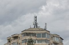 Block of flats with antenna. Block of flats - apartment building - detail stock photo