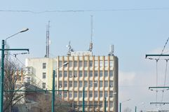 Block of flats with antenna. Block of flats - apartment building - detail stock image