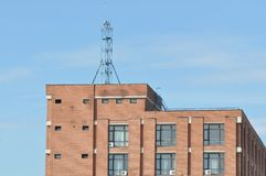 Block of flats with antenna. Block of flats - apartment building - detail stock photography