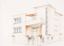 Block of flats. Architectural perspective of modern house, drawn by hand Royalty Free Stock Photo