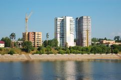 Block of flats and buildings under construction Royalty Free Stock Photo