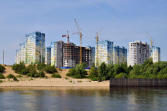 Block of flats and buildings under construction Royalty Free Stock Images