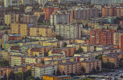 Block of flats. Close view of a block of flats area in a residential district of the Brasov city, the 7th largest city in Romania stock photo