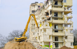 Block of flats demolition Royalty Free Stock Photo
