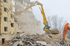 Block of flats demolition Royalty Free Stock Photos