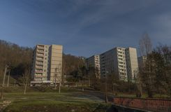 Block of flats in Holomer part of city Usti nad Labem. In winter sunny cold day stock photography