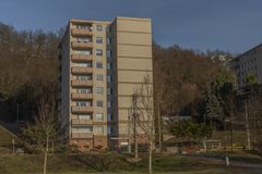 Block of flats in Holomer part of city Usti nad Labem. In winter sunny cold day royalty free stock photography