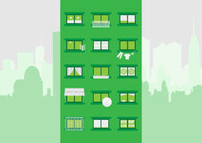 Block of flats. Illustration of block of flats with various accesories in cityscape Royalty Free Stock Photos