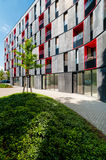 Block of flats in modern design with red color Royalty Free Stock Images