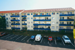 Block of flats. Modern block of flats and parking in Maintal, Germany royalty free stock photo