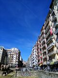 Thessaloniki, Greece - April 3 2018: Apartment buildings at Navarinou street around the remains of palace of Galerius. royalty free stock images