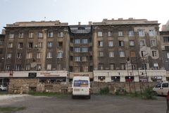 Block of flats socialist architecture in hungary in district seven 7 , bohemien neigborhood stock photography