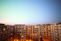 Block of flats vertical panorama. Color imae of some flats in a block, at sunset Royalty Free Stock Images