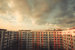 Block of flats vertical panorama. Color image of some flats in a block, at sunset Stock Photos