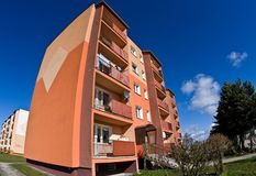 Block of flats wide angle fisheye royalty free stock photo