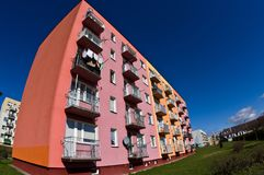 Block of flats wide angle fisheye royalty free stock images