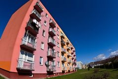 Block of flats wide angle fisheye royalty free stock photos