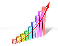 Block graph with arrow. Illustration of a multi-colored bar chart with strong upward trend Stock Photography