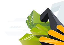Block graphic composition. Green, black and yellow block graphic composition Stock Photography