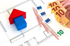 Block-Haus-Geld Stockbilder