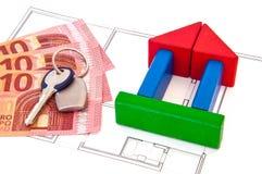 Block-Haus-Geld-Schlüssel Stockbilder
