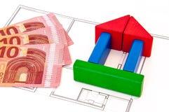 Block-Haus-Geld-Schlüssel Stockbild