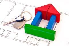 Block-Haus-Geld-Schlüssel Stockfotografie