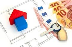Block-Haus-Geld-Schlüssel Stockfotos