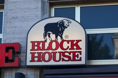 Block-Hausrestaurant Signage Stockfotos