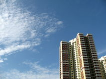 A block of HDB Flats In Singapore. A block of HDB Flats found in Singapore against blue sky Royalty Free Stock Photo