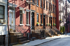 Block of Historic Buildings on Gay Street in New York City. Sunlight shines on a block of historic apartment buildings on Gay Street in the Greenwich Village Stock Photos