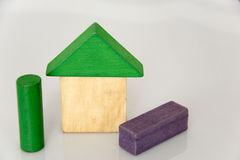Block house. Color blocks built into a small house, great creative pictures Royalty Free Stock Photos