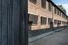 Block of houses in concentration camp Auschwitz, Poland Royalty Free Stock Photo