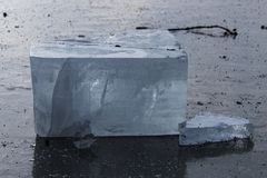 Block of ice on lake in Central Poland. A block of clear natural ice on a lake in central Poland stock images