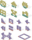 Block icons. A series of icons illustrated to look like building blocks Royalty Free Stock Photography