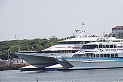 Block Island High Speed Ferry. High Speed Ferry to and from Block Island next to another large boat Royalty Free Stock Photography