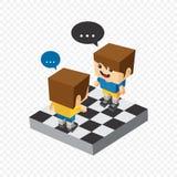 Block isometric cartoon character Royalty Free Stock Image