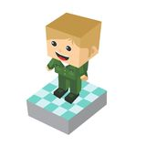 Block isometric cartoon character Stock Photo